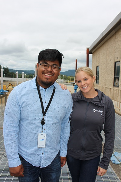 Intern Henry Reyes with Amy Meaut, Water Resources Specialist