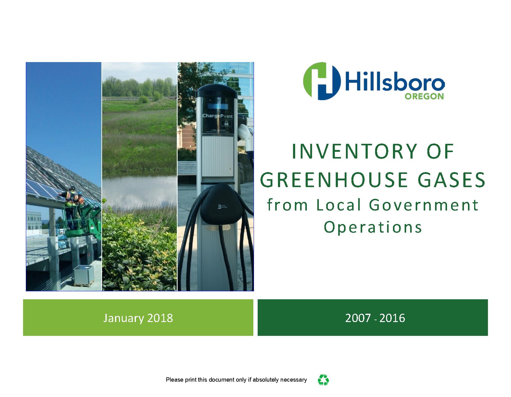 2007-2016 Hillsboro Greenhouse Gas Inventory Report