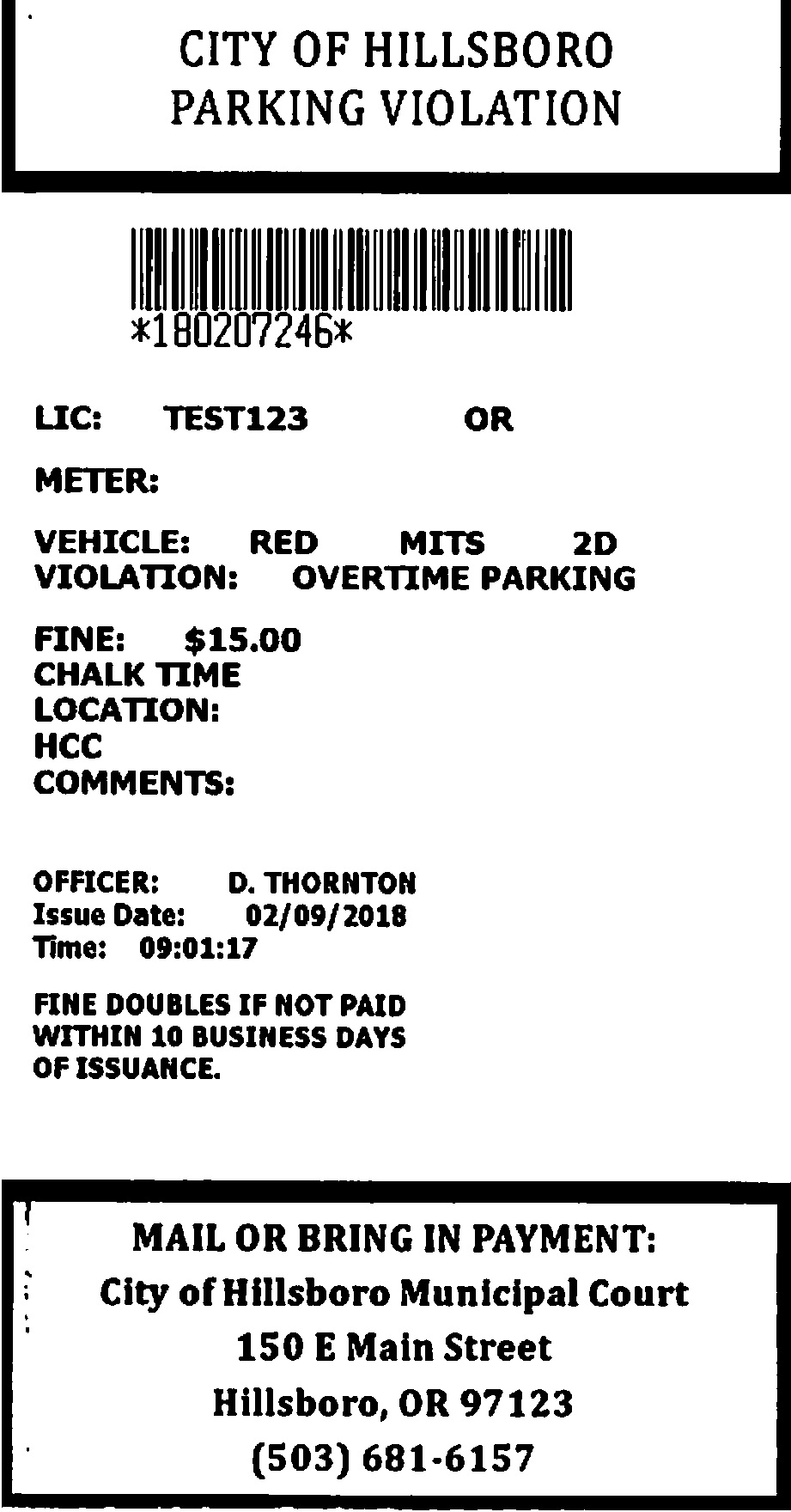 Graphic showing an example of a electronic parking ticket.