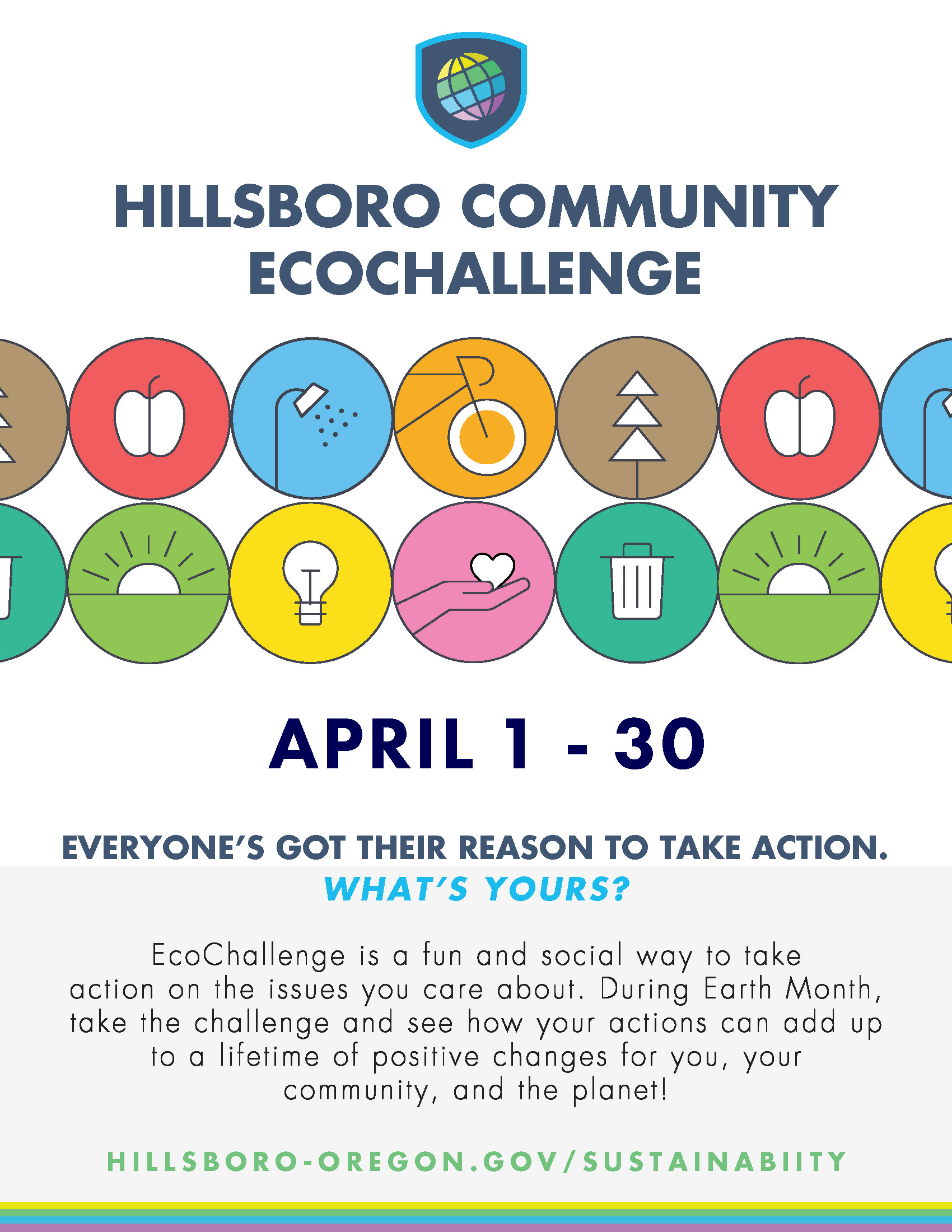 Hillsboro Community EcoChallenge Flyer.  April 1-30.