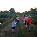 Group of people walking on a trail at the Jackson Bottom Wetlands Preserve.