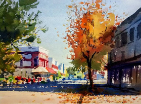 Painting of Downtown Hillsboro at the intersection of 2nd and Main street