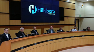2018 Hillsboro City Council members sitting at the dais