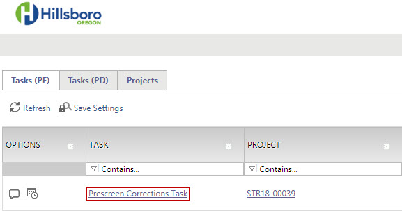 Prescreen Corrections Task - Image of Task Location on Home Page Task List