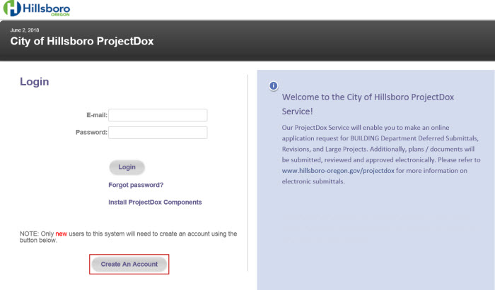 New User Getting Started - Create an Account Example from Login Page