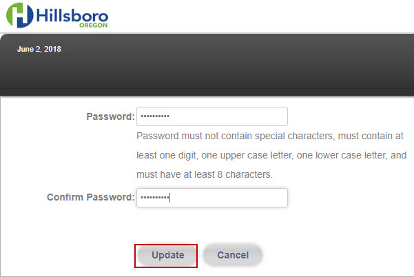 New User Getting Started - Create an Account Password Creation Example