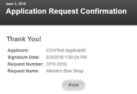 Deferred Submittal and Revision Application Process - Image of Deferred Submittal Applicaion Request Confirmation