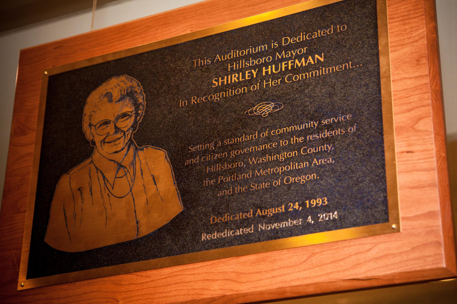 Shirley Huffman Plaque 010615