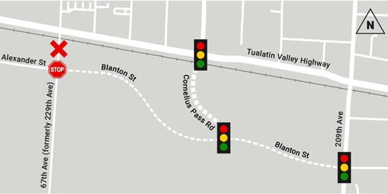 Map depicting the closure of 67th Avenue at the south intersection of TV Highway