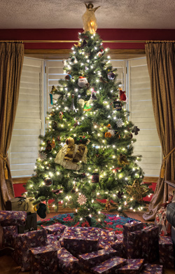 Decorated Christmas tree in a house.