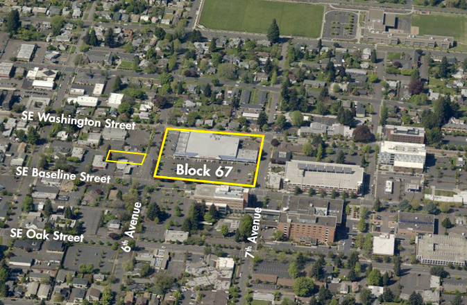 Aerial photo of Block 67 in Hillsboro, Oregon.