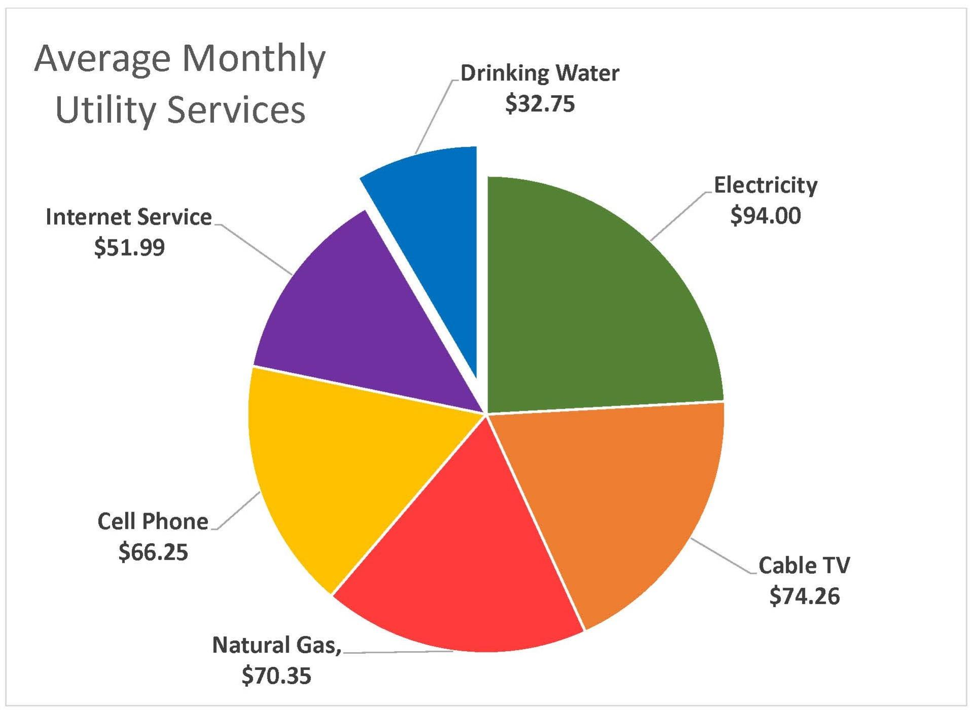 Average Monthly Utility Services Pie Chart