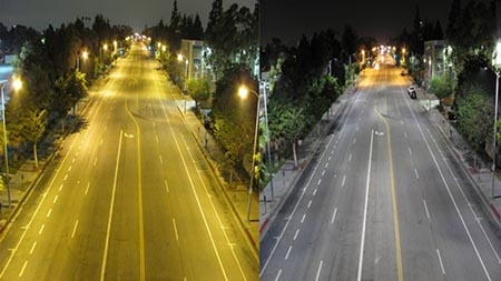 Photo showing HPS and LED street lights comparision