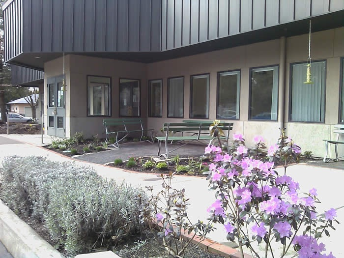 Photo of the exterior of the Hillsboro Community Senior Center with lavender rhododendrons.