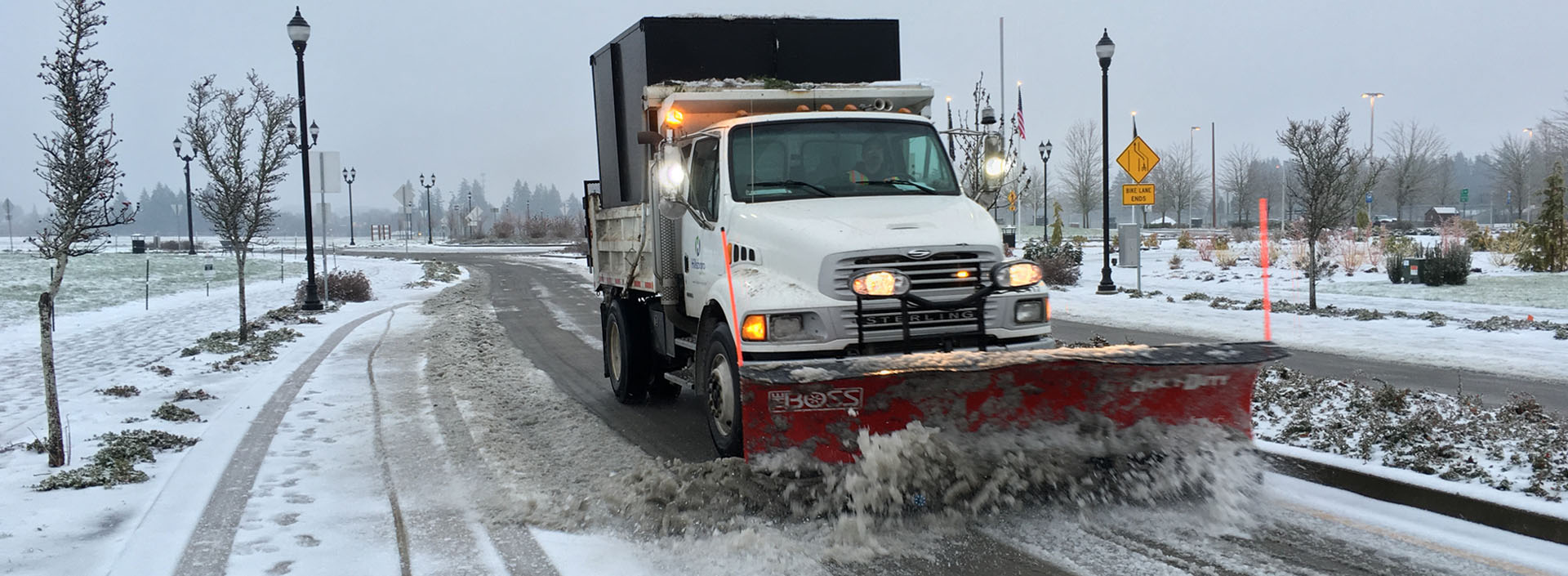 Image of snow plow on a Hillsboro street
