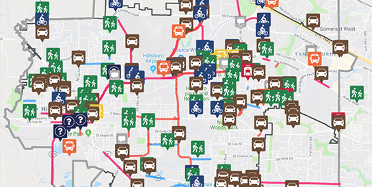 Map of Hillsboro with icons suggesting areas to improve transportation