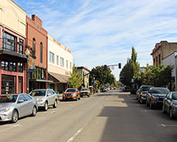 Main Street in Downtown Hillsboro on a sunny day.