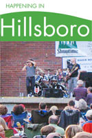 Happening in Hillsboro E-Newsletter Logo and photo of a live outdoor concert