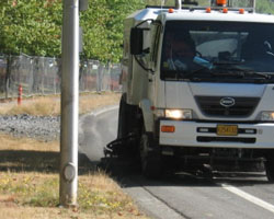 Street sweeper cleaning City road