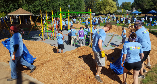 Volunteers at the 2016 KaBoom! event building the playground
