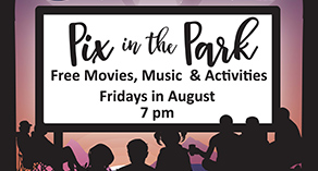 Pix in the Park graphic displaying the event title