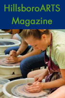 HillsboroARTs Magazine. A girl works with clay on a pottery wheel.