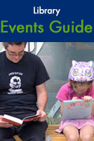 Library Events Guide. A man and his daughter sit outside reading books.