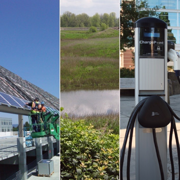 Crew members working on solar panels, a wetland reserve, and an electric car charging station.
