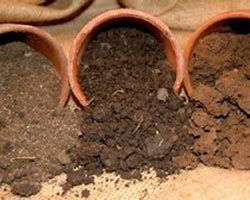 Three different soil types vary in color and texture