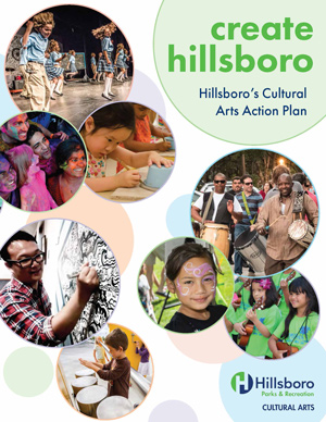 The cover of the Hillsboro Arts Action Plan showing community members creating art.