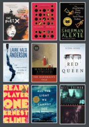 nine book covers from the new library catalog. Includes Poet X, Ready Player One, All the Light we Cannot See, and Red Queen, among others