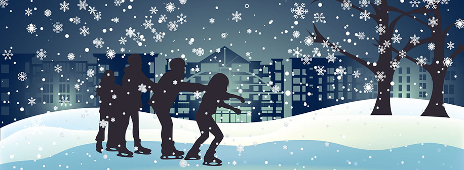 A graphic of a family ice skating among snowflakes with a cityscape in the background