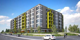 An artist rendering of the Willow Creek Crossing apartments