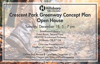 Hillsboro Parks & Recreation, Crescent Park Greenway Concept Plan Open House