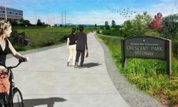 Design concept of the Crescent Park Greenway
