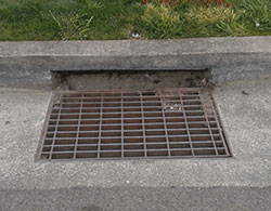 A catch basin storm drain is a grated opening near a curb