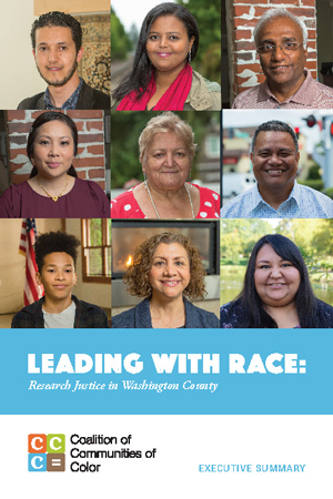 The cover of the Leading With Race report with faces of community members