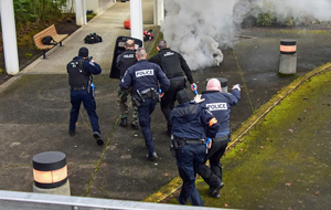 Hillsboro Police officers conduct a training exercise