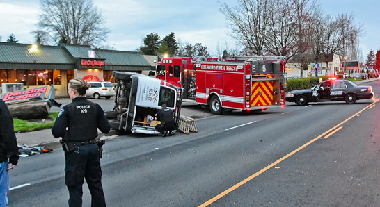 Hillsboro first responders at the site of an auto accident