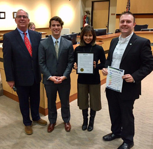 Tami Cockeram, Councilor Allen, Mayor Callaway, and Jacob Pavlik at a City Council meeting