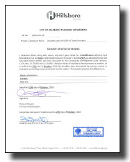 Notice of Decision for architectural approval example