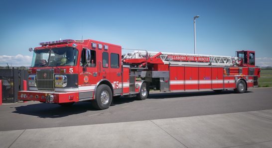 Hillsboro FIre & Rescue Department tiller truck