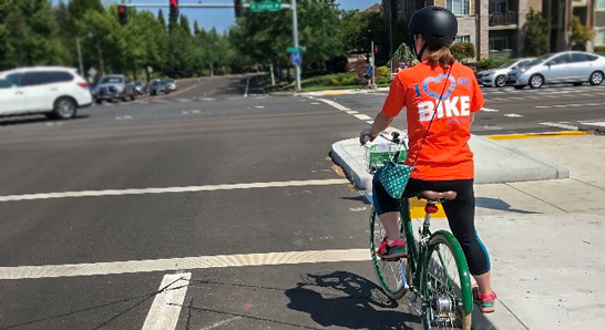 Cyclist in a bike lane in Hillsboro