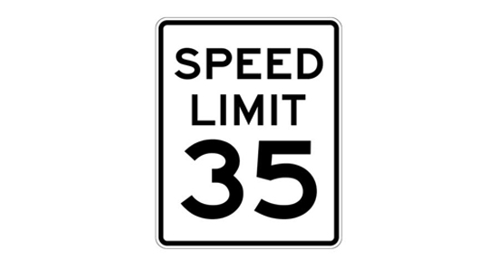 Speed Limit 35 miles per hour sign