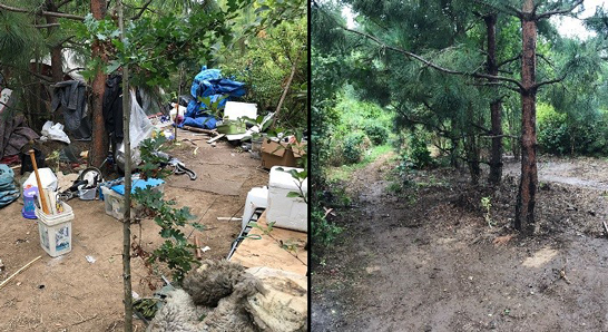 Before and after photo of a cleaned up camp