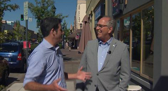 Mayor Callaway with Drew Carney of KGW