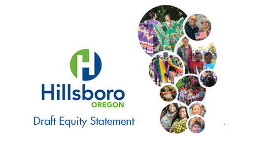 Hillsboro logo, community members, and Draft Equity Statement