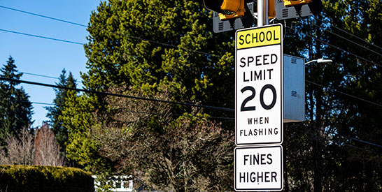 Photo of 20-mph-School-Zone sign with lights and fines higher sign.