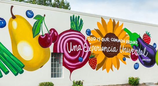 Mural of food and flowers in Downtown Hillsboro
