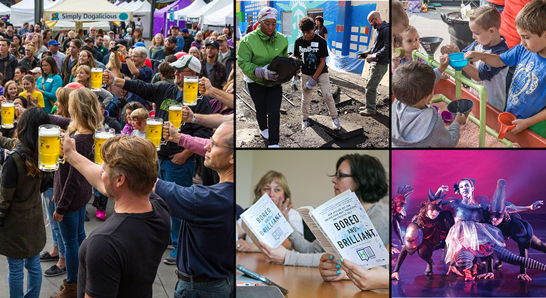 Photo collage: Atendees at Orenkofest, volunteers at HillsDOer Day, a group reading books, and performers dancing